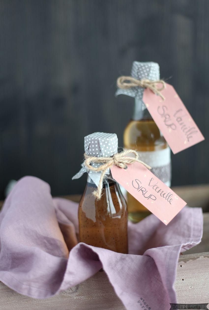 Vanilla Sirup mit lila serviette