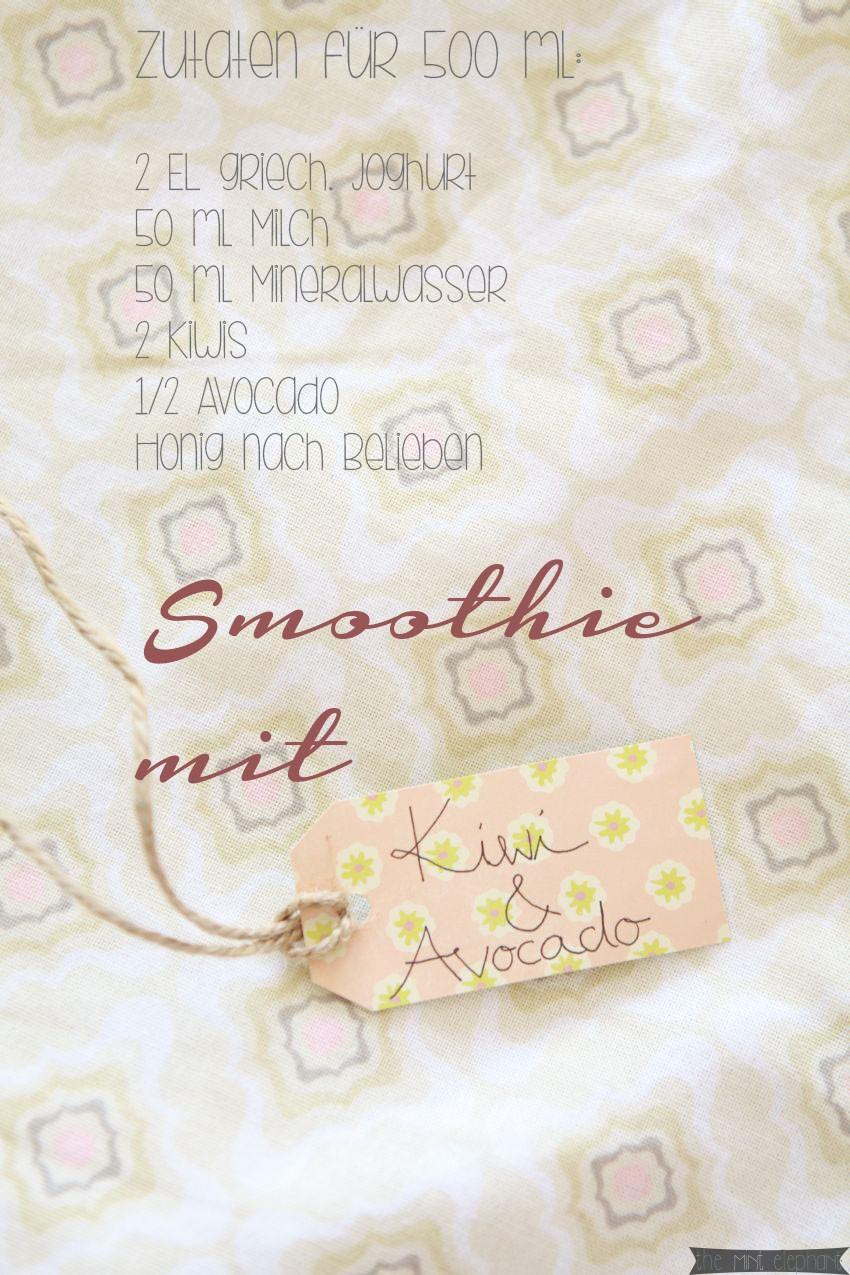 Label für Kiwi Avocado Smoothie und Zutaten rosa schrift