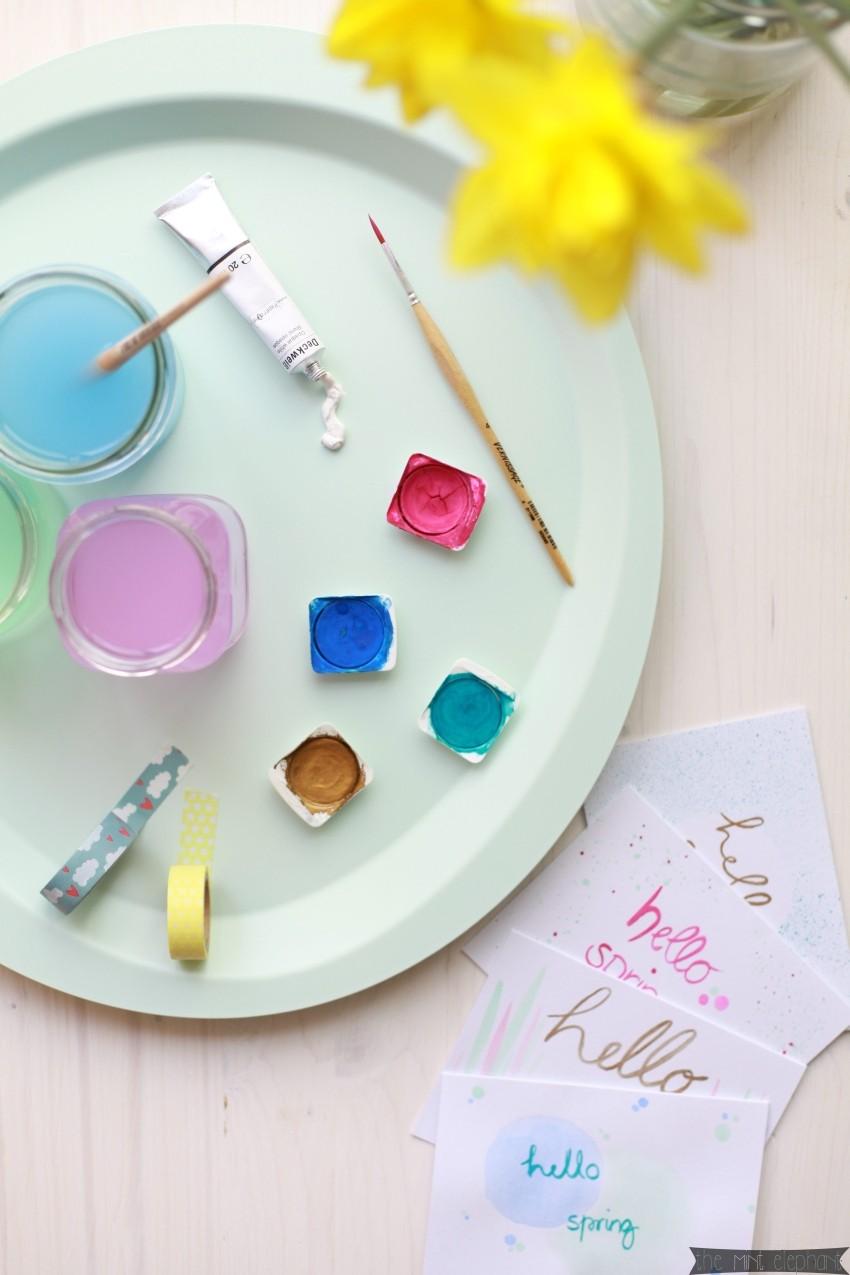 Grußkarten Hello Spring mit Tablett mint und Tuschfarben