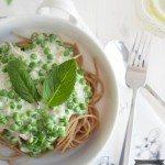 für vegetarische Spaghetti Carbonara mit Erbsen